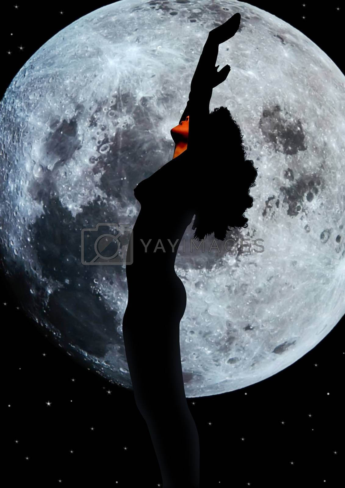 silhouetted nude woman giving praise to the white moon by morrbyte