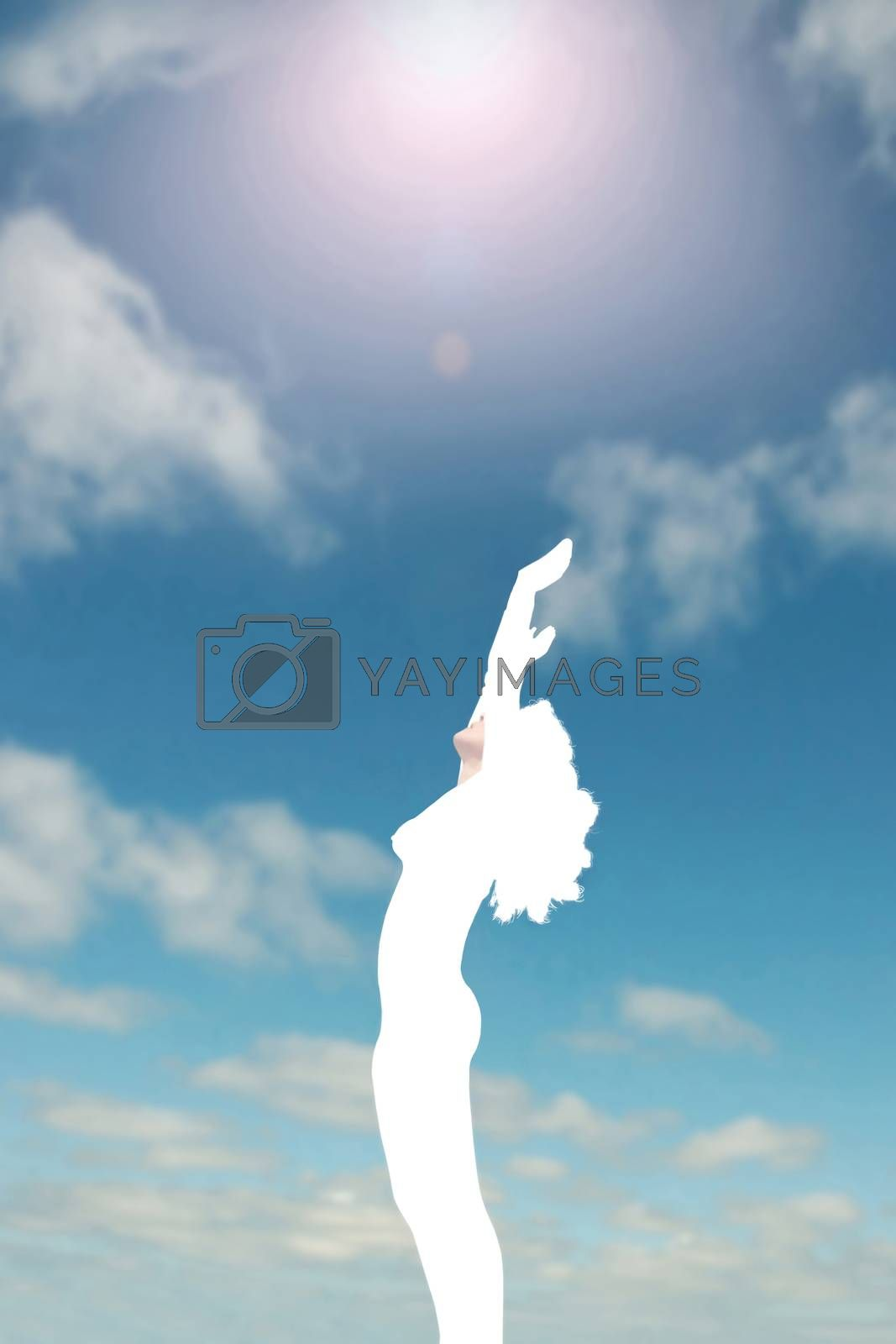 silhouetted woman worshiping the heavens  by morrbyte