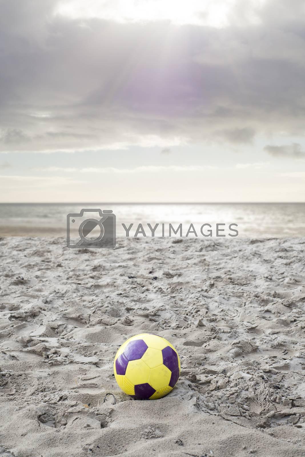 soccer ball on ballybunion beach in county kerry ireland