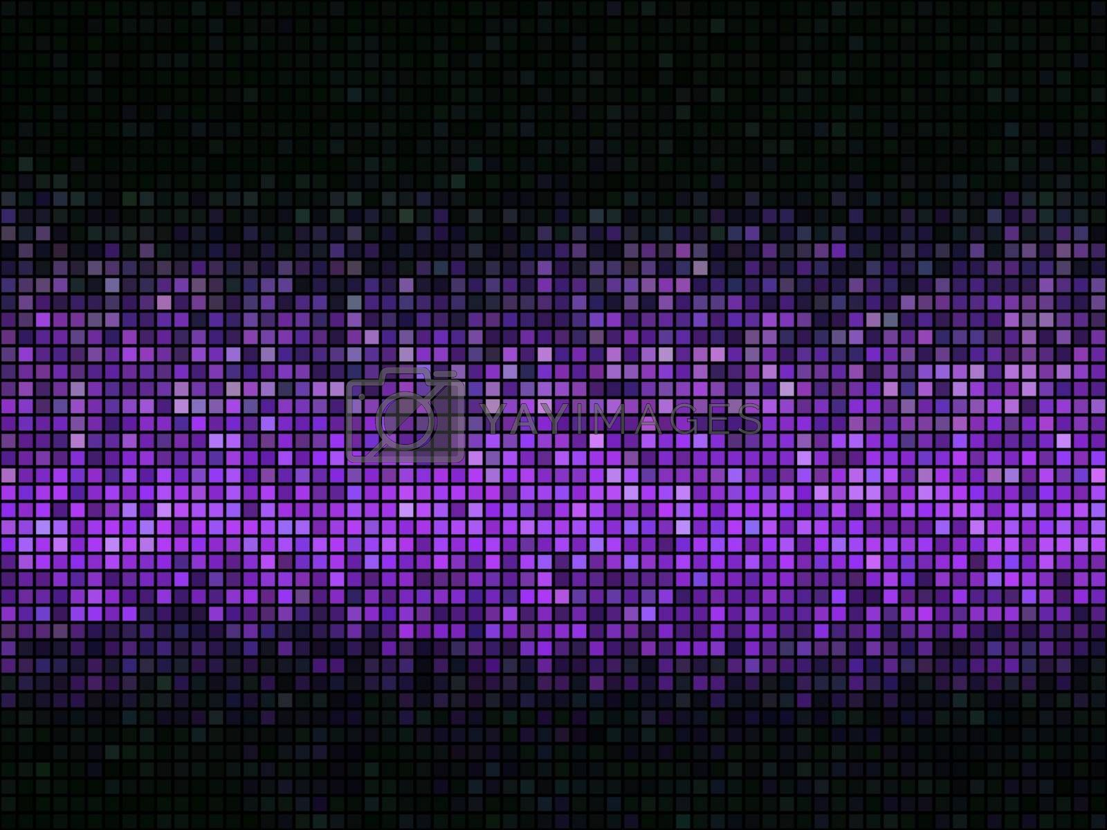 Violet abstract lights disco background. Square pixel mosaic.