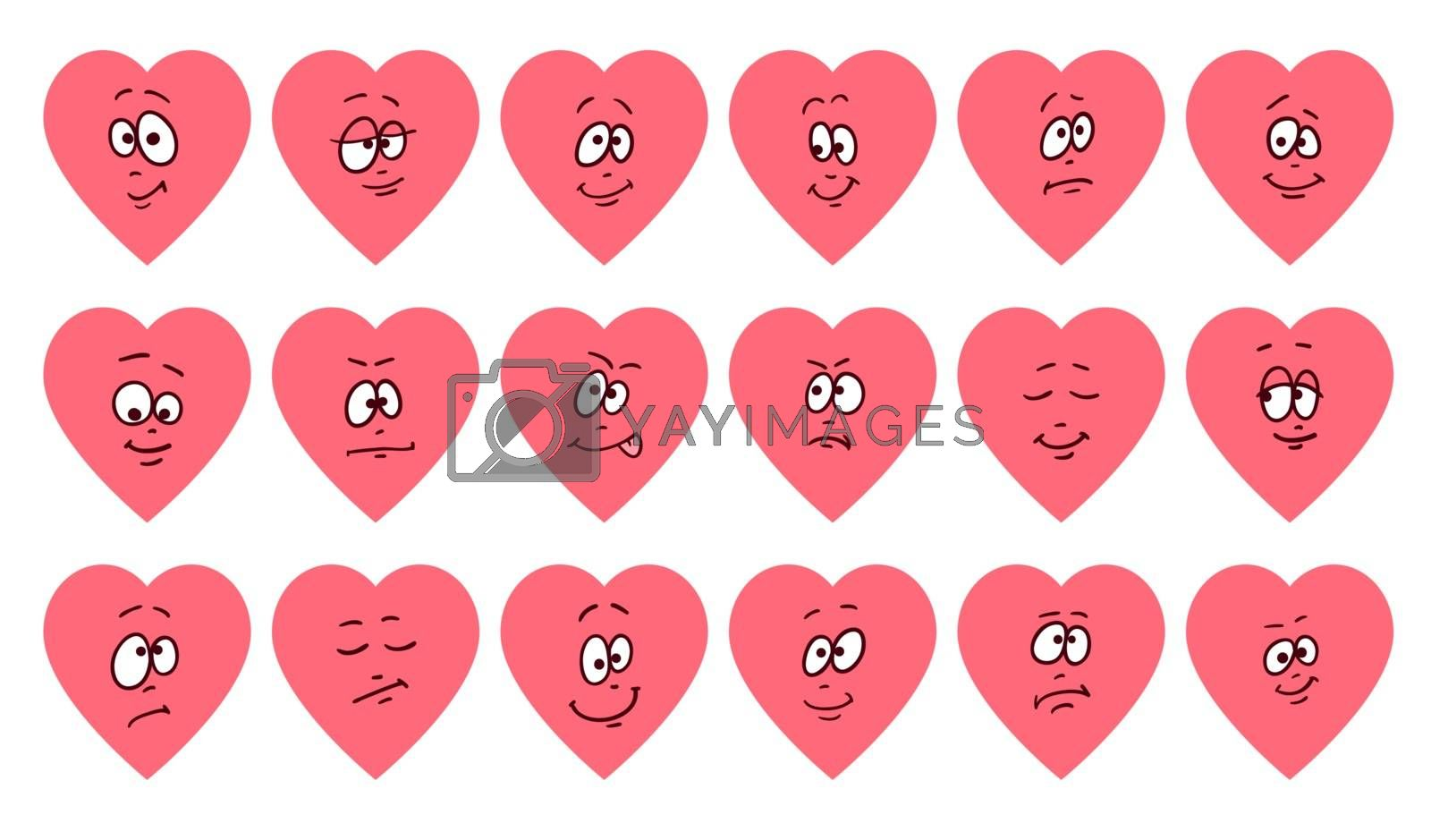 Set of flat heart shape emoticons. Cartoon cute faces emojies. Vector romantic and valentines illustration. hearts with different characters. Love or helth symbol