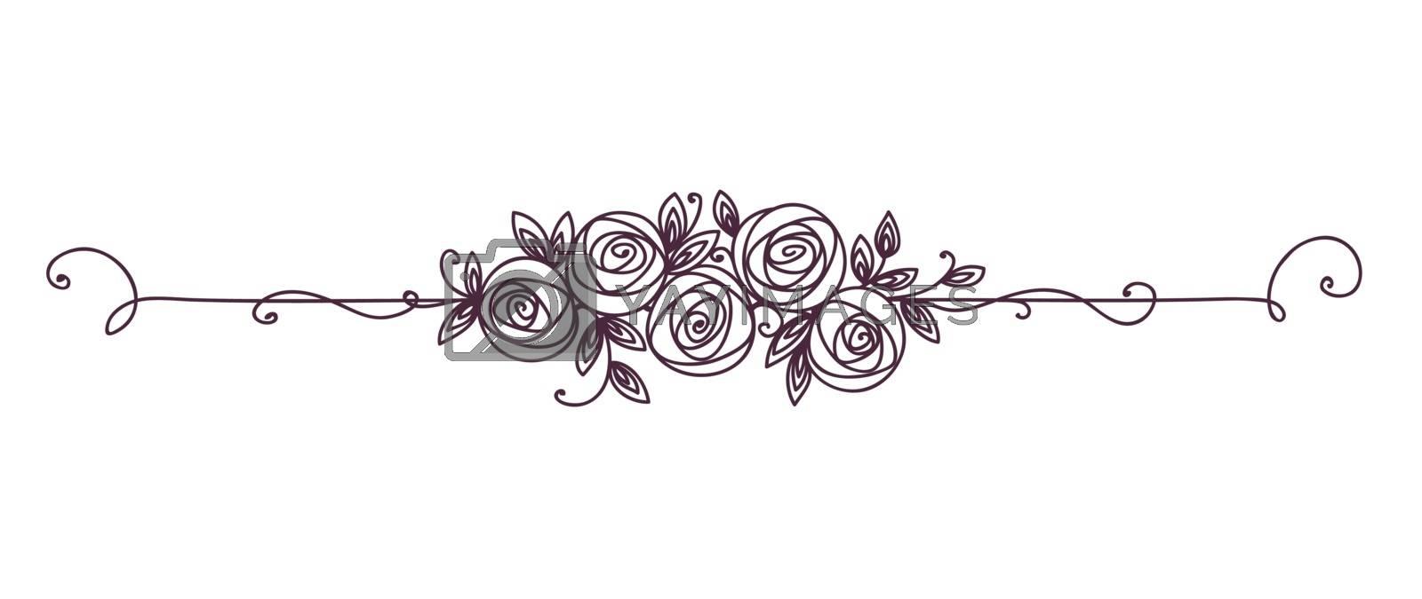 Floral elegant pattern black and white. Vintage element for decor line art. Rose flower outline.
