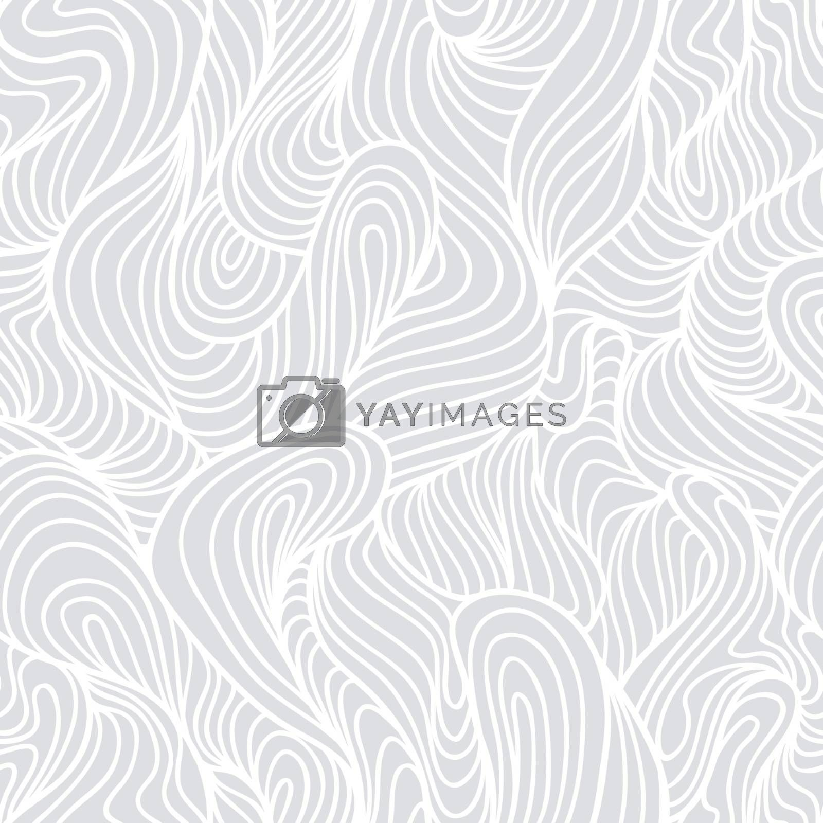 Seamless abstract light hand drawn pattern, waves background. Yarn curly pattern white color
