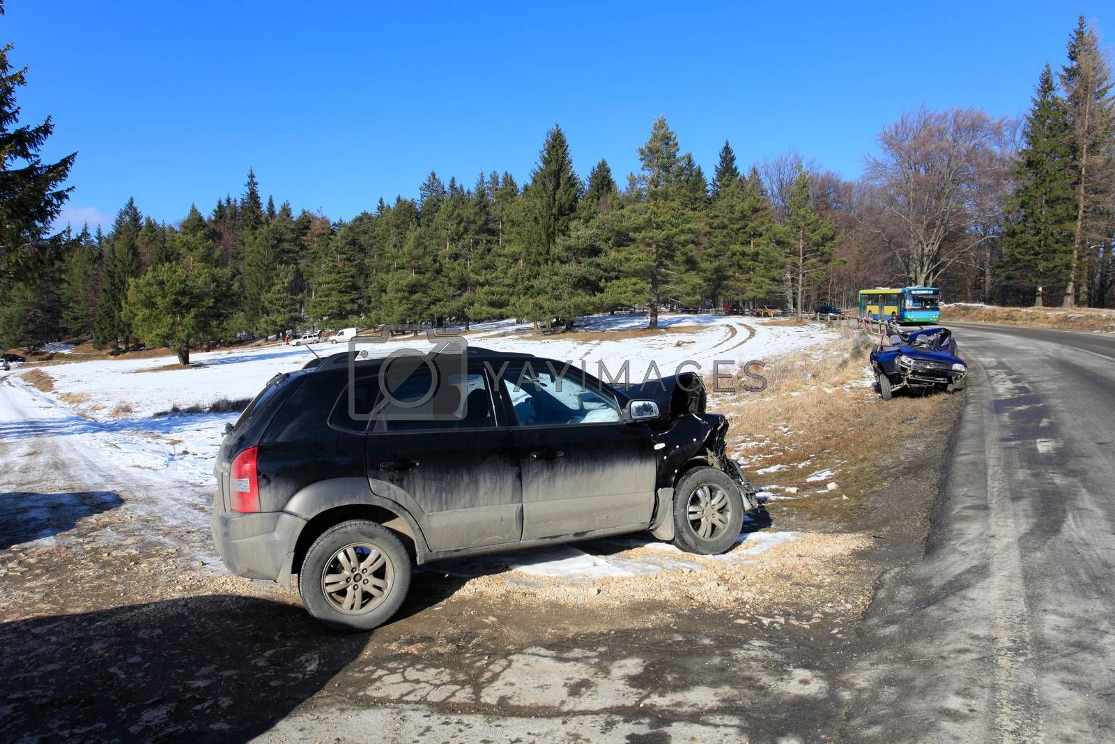 Two car damaged by crash accident on side of the road