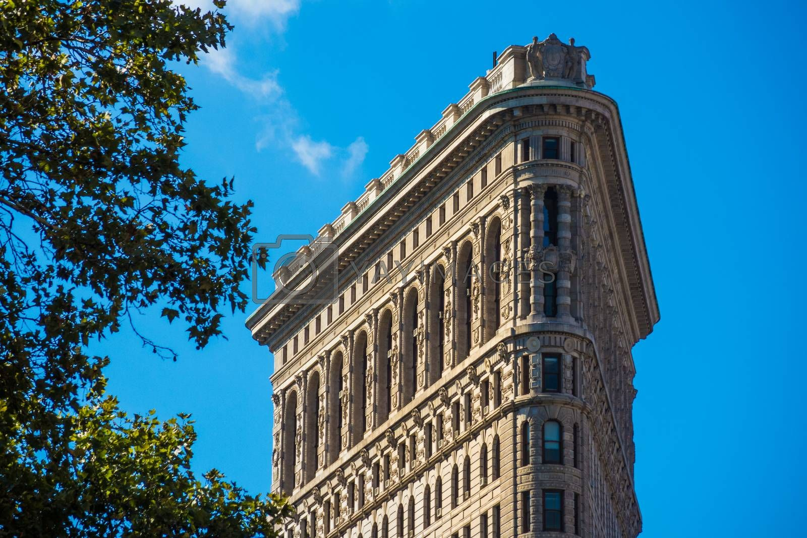 Close up Flat Iron building New York Manhattan stone and steel s by MXW_Stock