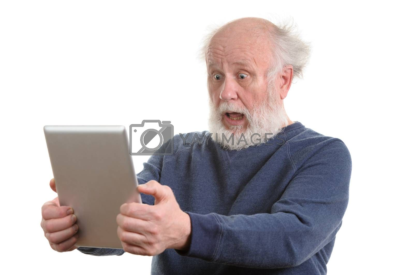 Funny shocked astonished old man using tablet computer, isolated on white
