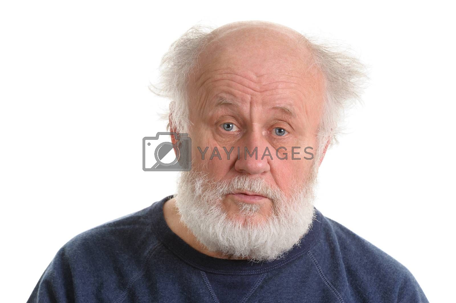 calm and sad depressing old bald man isolated portrait isolated on white