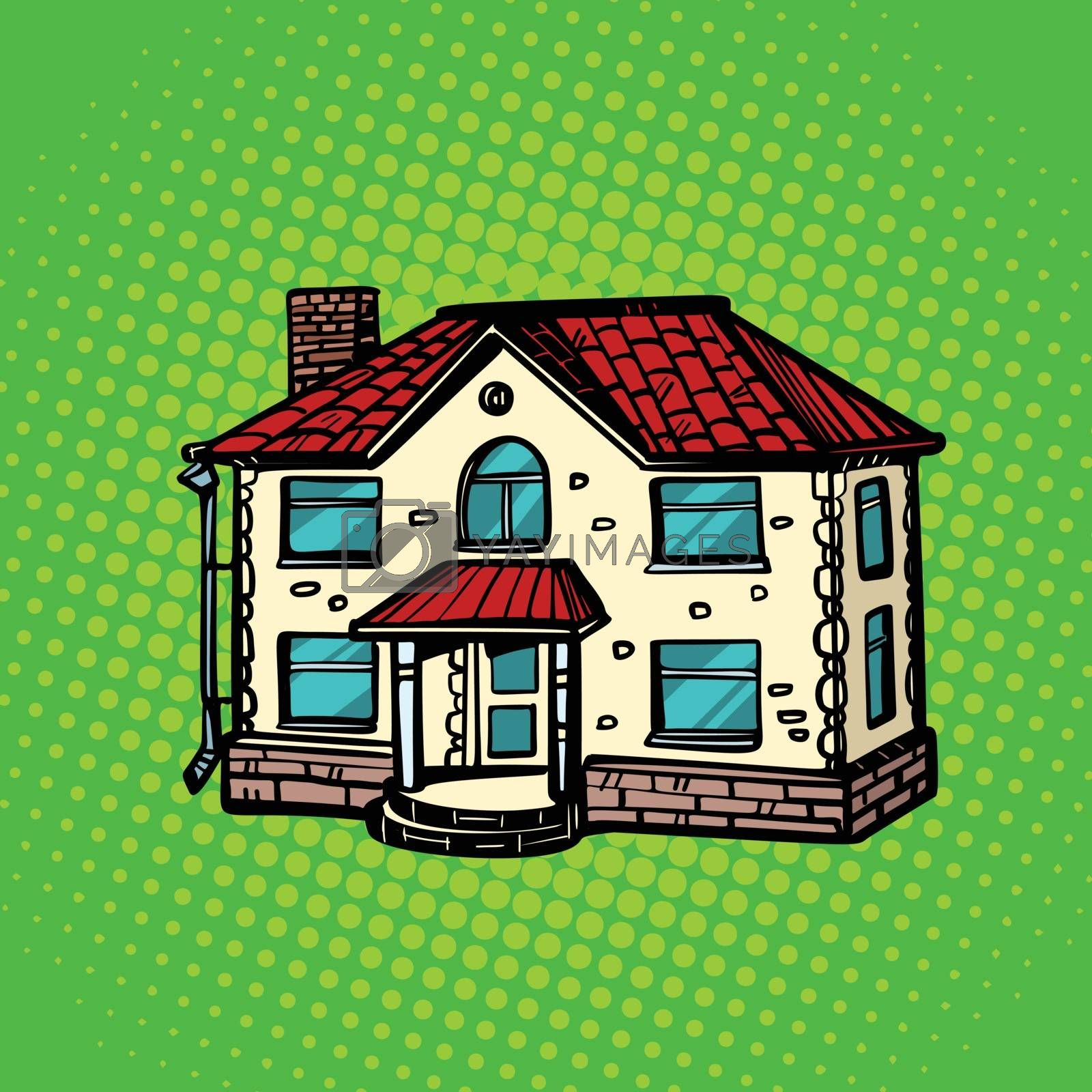 house real estate. Pop art retro vector illustration drawing kitsch vintage