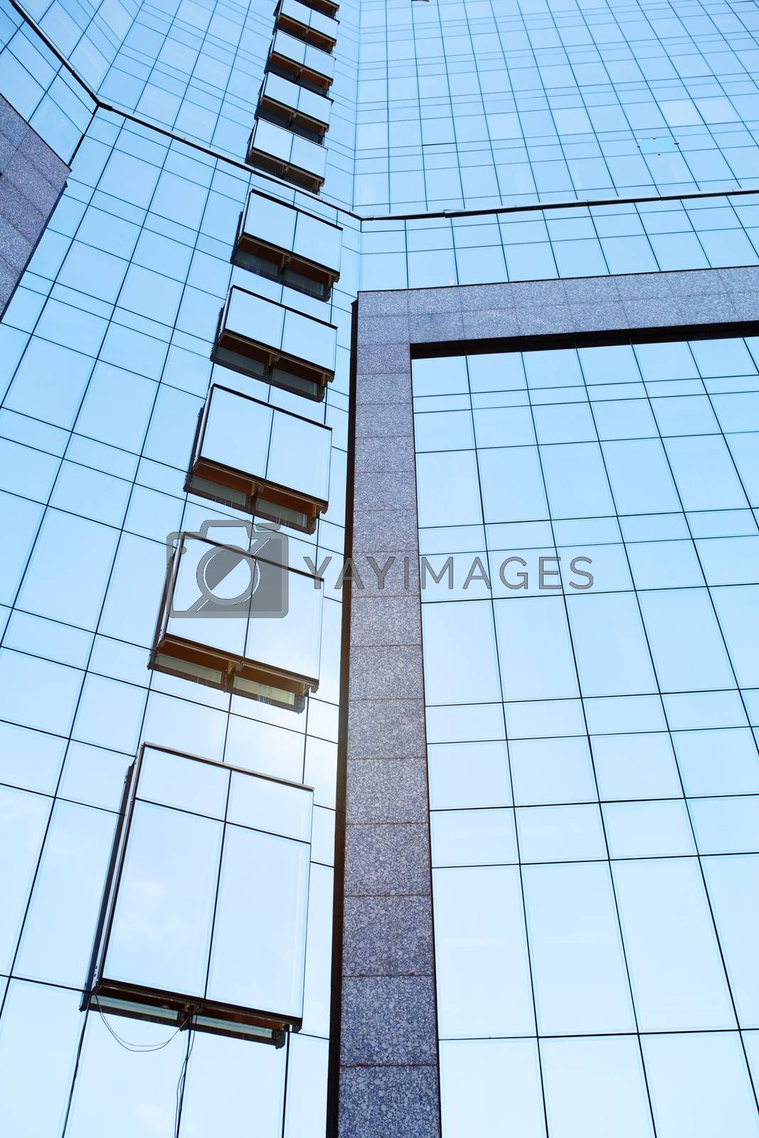 Low Angle View Of Tall Office Buildings. Vertical photo