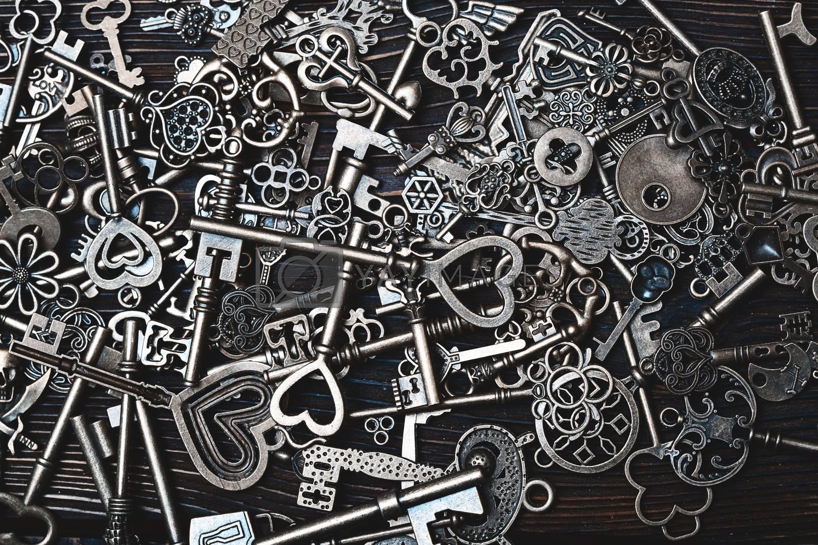 Full frame photo of the various antique keys