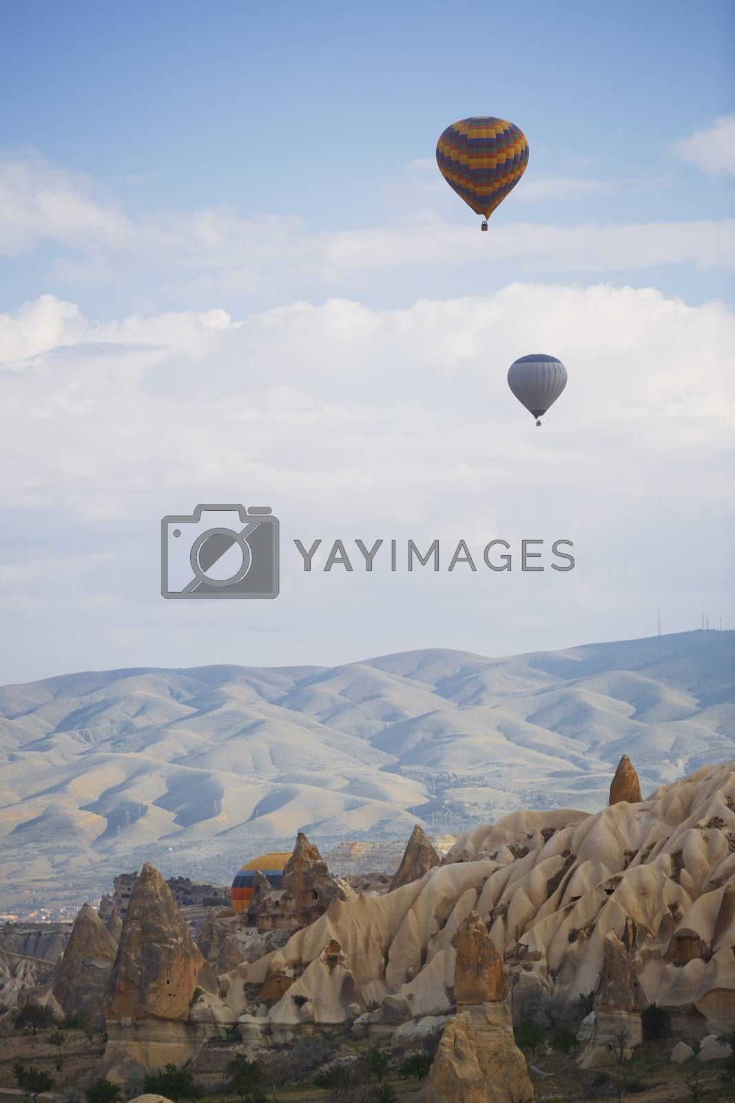 Hot air balloons flying over the rocky land. Cappadocia, Turkey