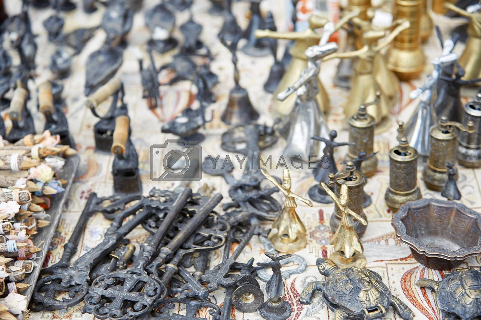 Knickknack items at outdoor flea market in Istanbul, Turkey