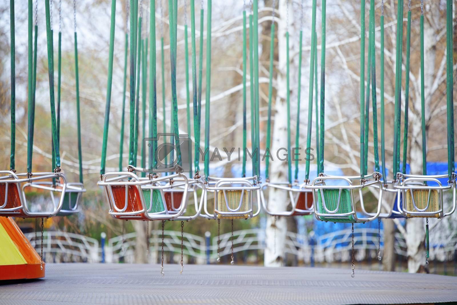 Empty chain swing in amuzement park