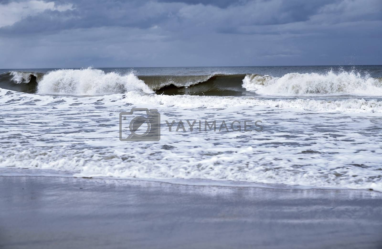 Rough water and waves in Pacific Ocean