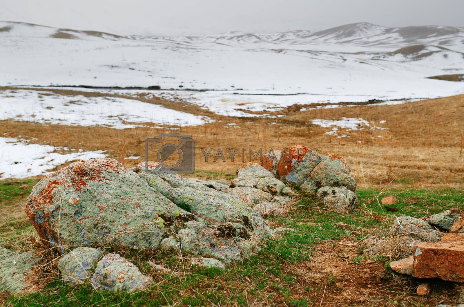 Steppe with colorful stones at the winter mountains