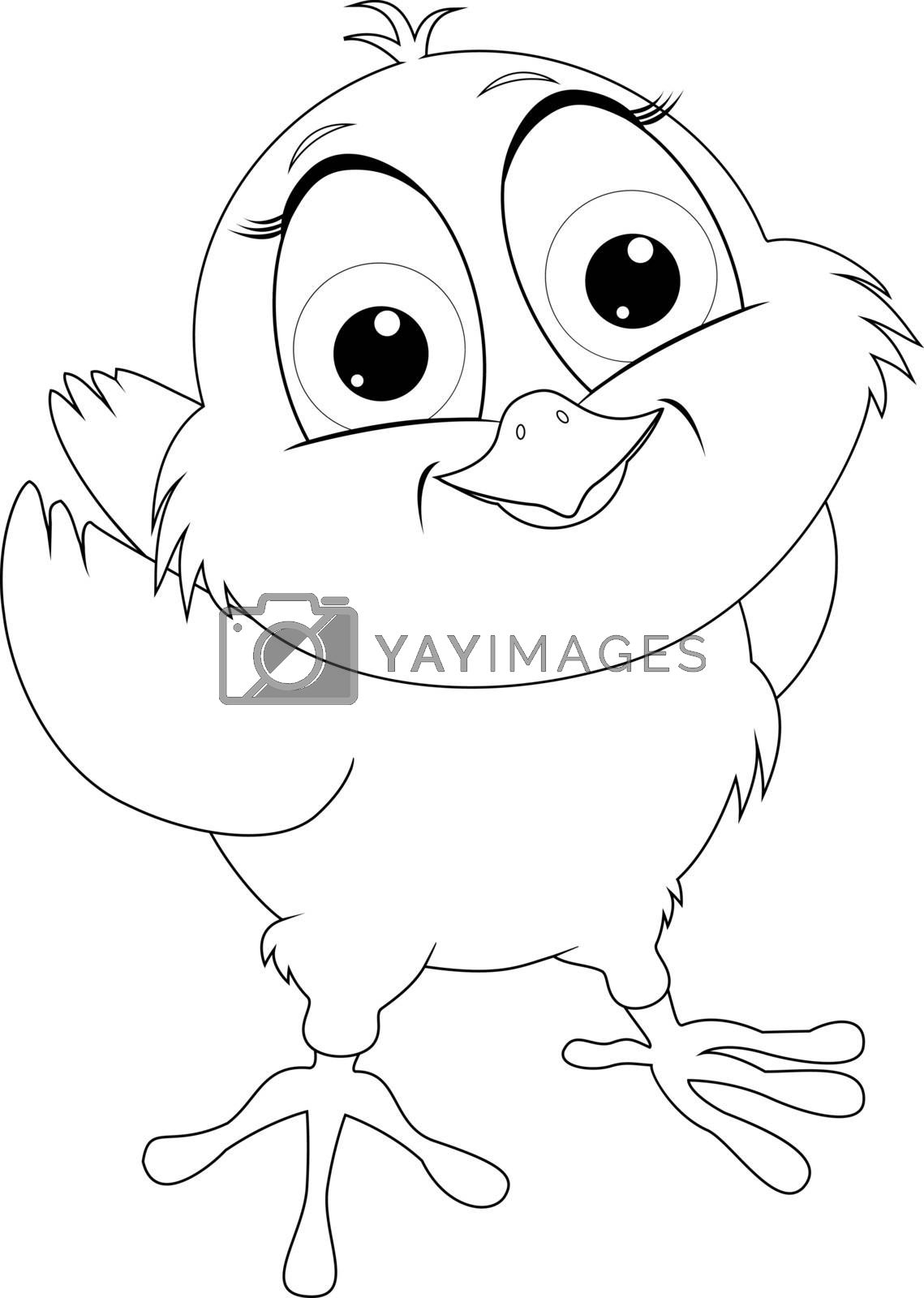 Chick outline sketch on a white background. Cartoon little chick for coloring.