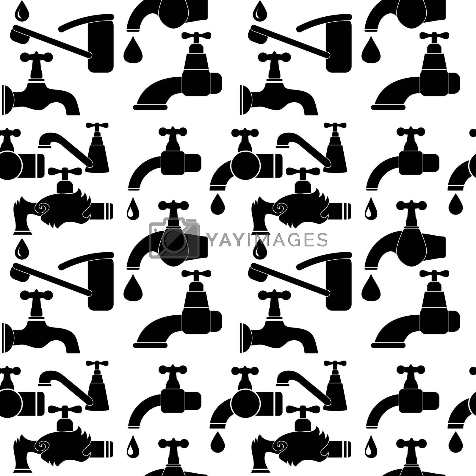 Water Tap and Water Drop Seamless Pattern Isolated on White Background