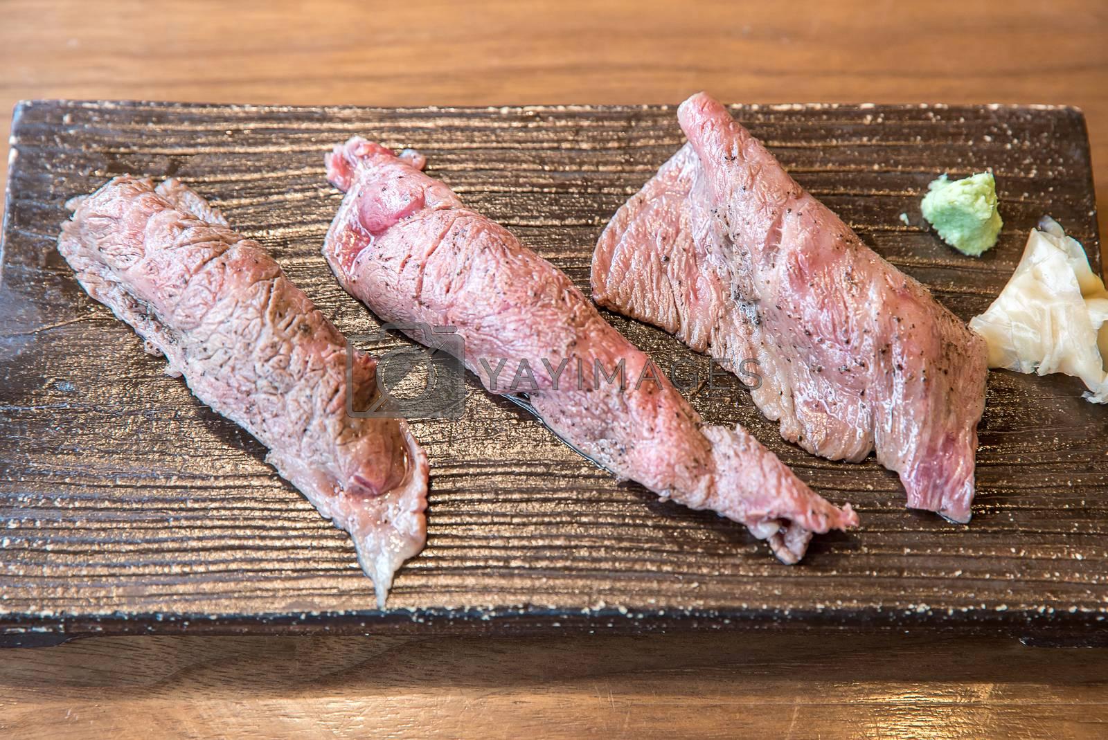 Sushi hida A5 wagyu beef, groumet japanese cuisine