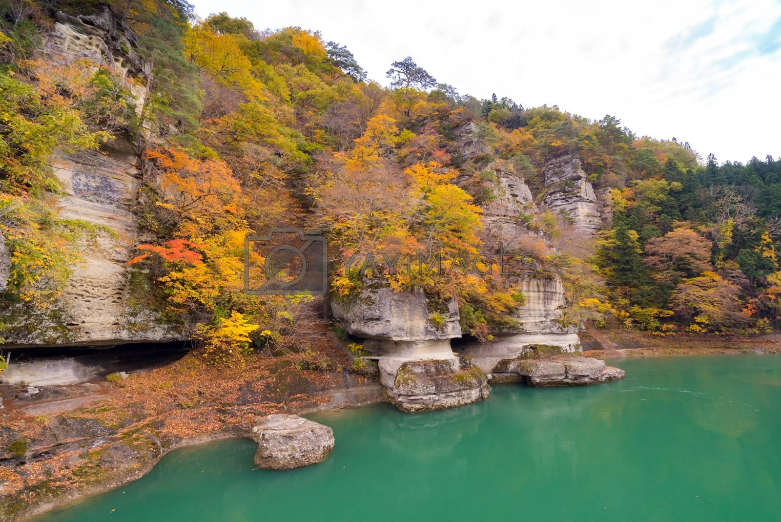 To no Hetsuri Cliff river and canyon Fukushima Japan
