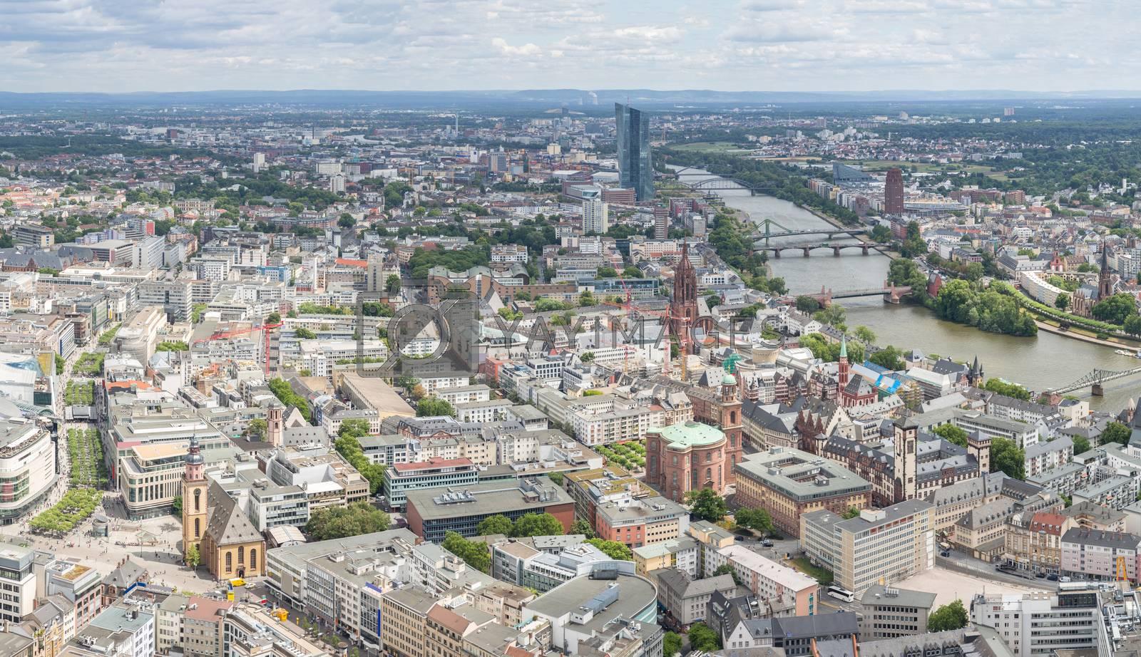 Germany Frankfurt am main skyscrapers aerial view panorama
