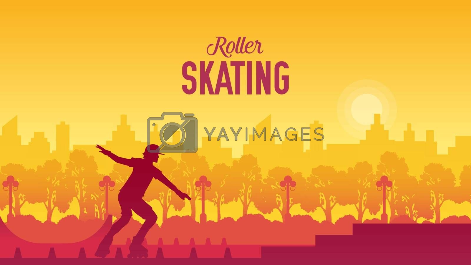 Roller skating in the city park vector illustration. Sport lifestyle design concept. Setting of laces on black roller