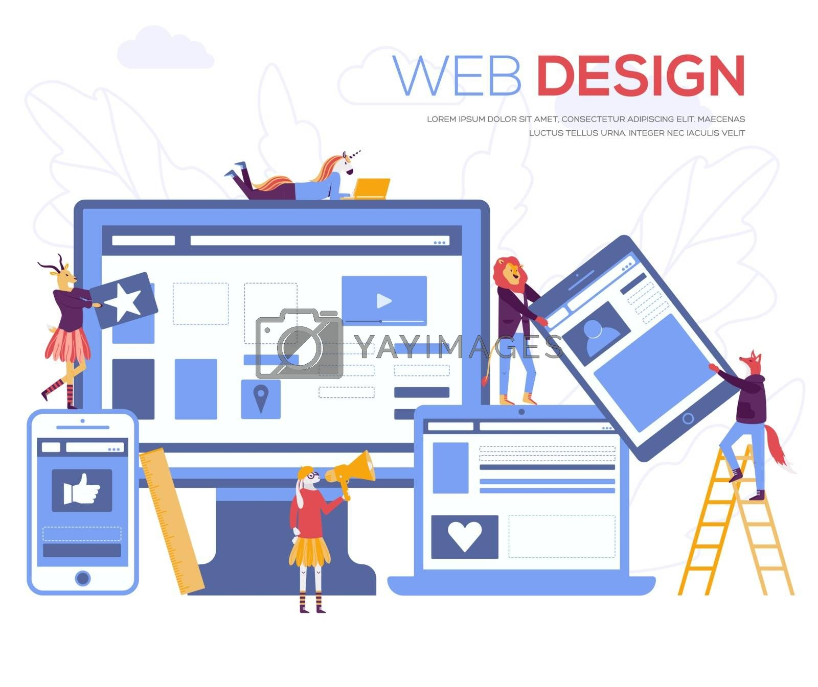 Development of mobile websites vector illustration. Creating a website applications, transferring information, web page design concept. Small people are working on SEO