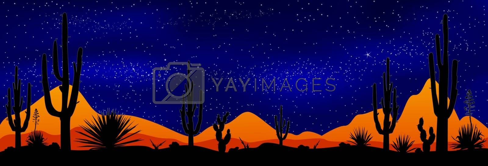 Desert with cacti on the background of the night starry sky. Stony desert at night. Desert landscape, night scene.