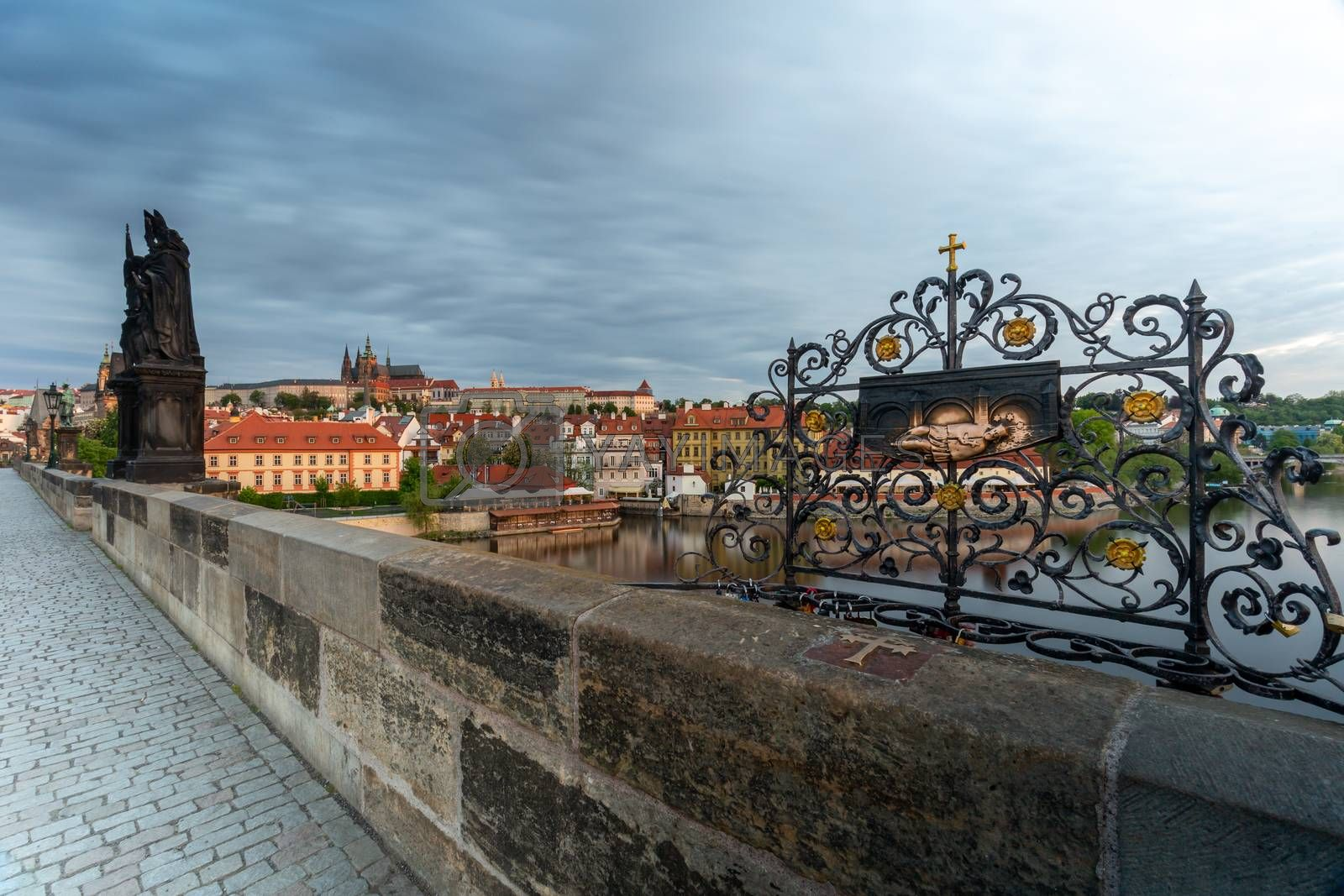 The place where Saint John Nepomuk was cast from the Charles Bridge into the Vltava river, Prague