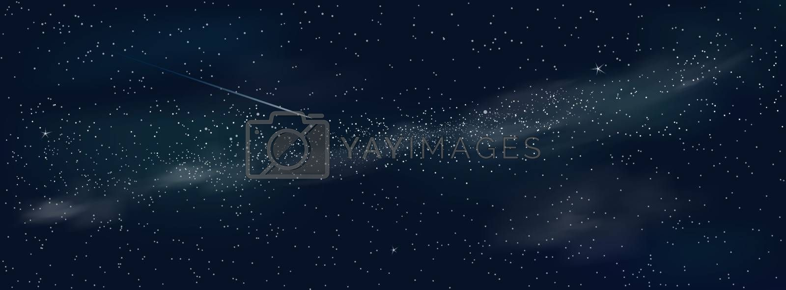 Space background. Shining stars and nebula. Night starry sky.