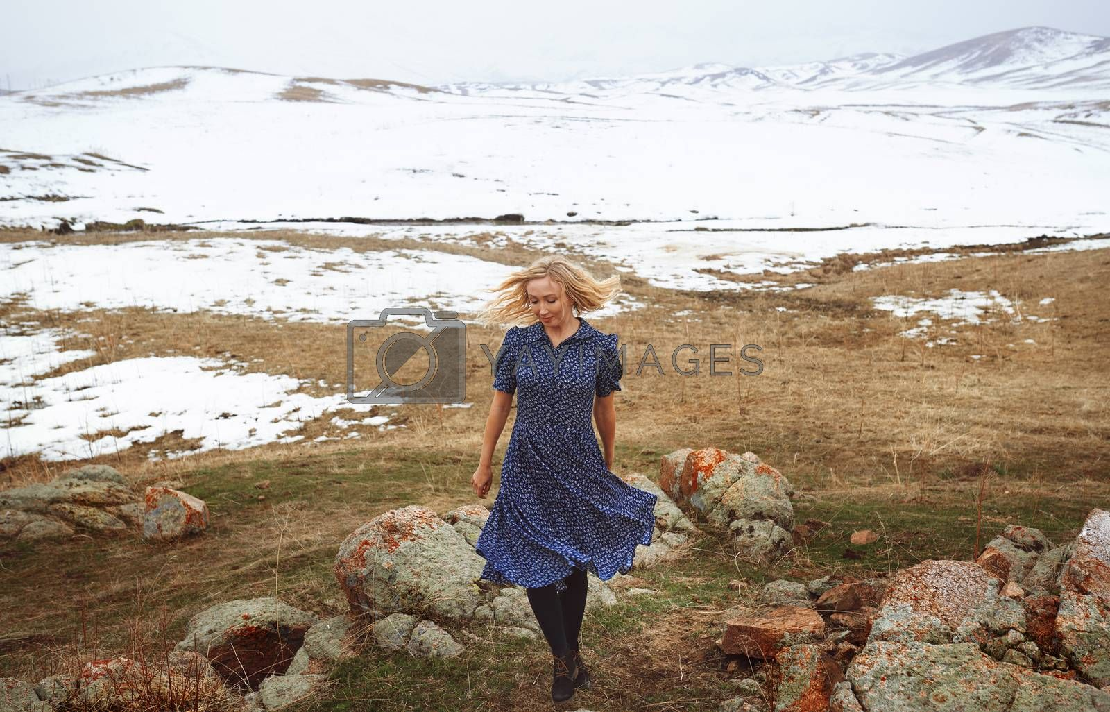 Royalty free image of Woman in the winter landscape by Novic