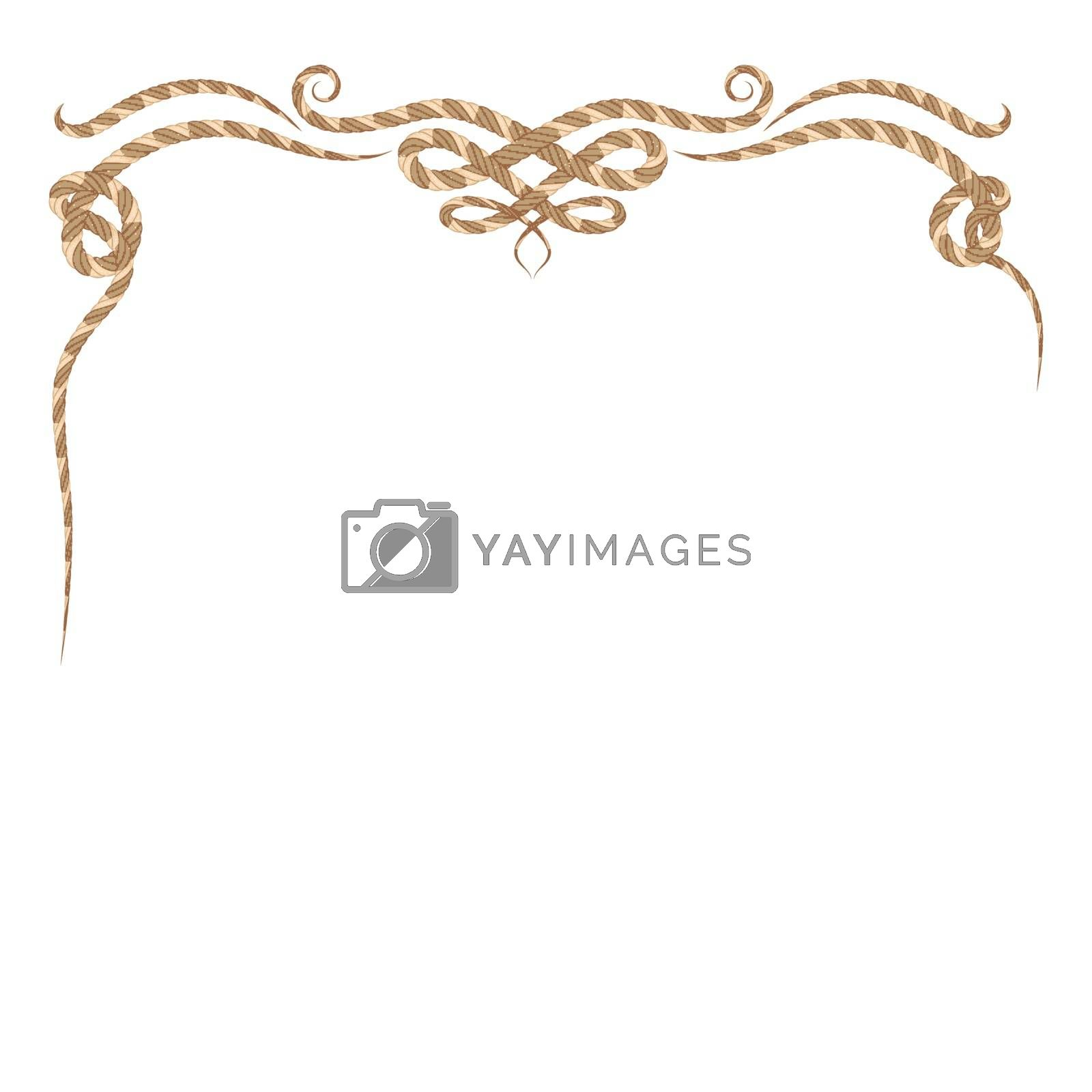 Vector of rope frame set on pattern retro background.