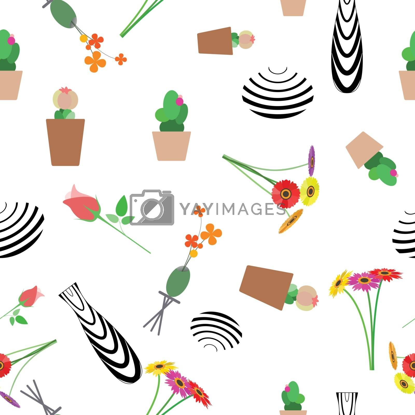 Abstract cactus with case seamless background.