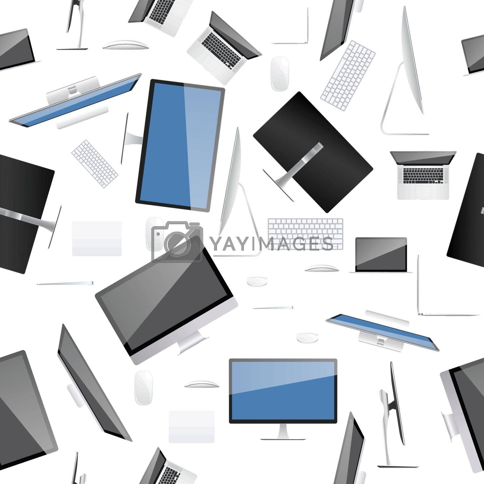 Computer collection on seamless pattern and texture background.
