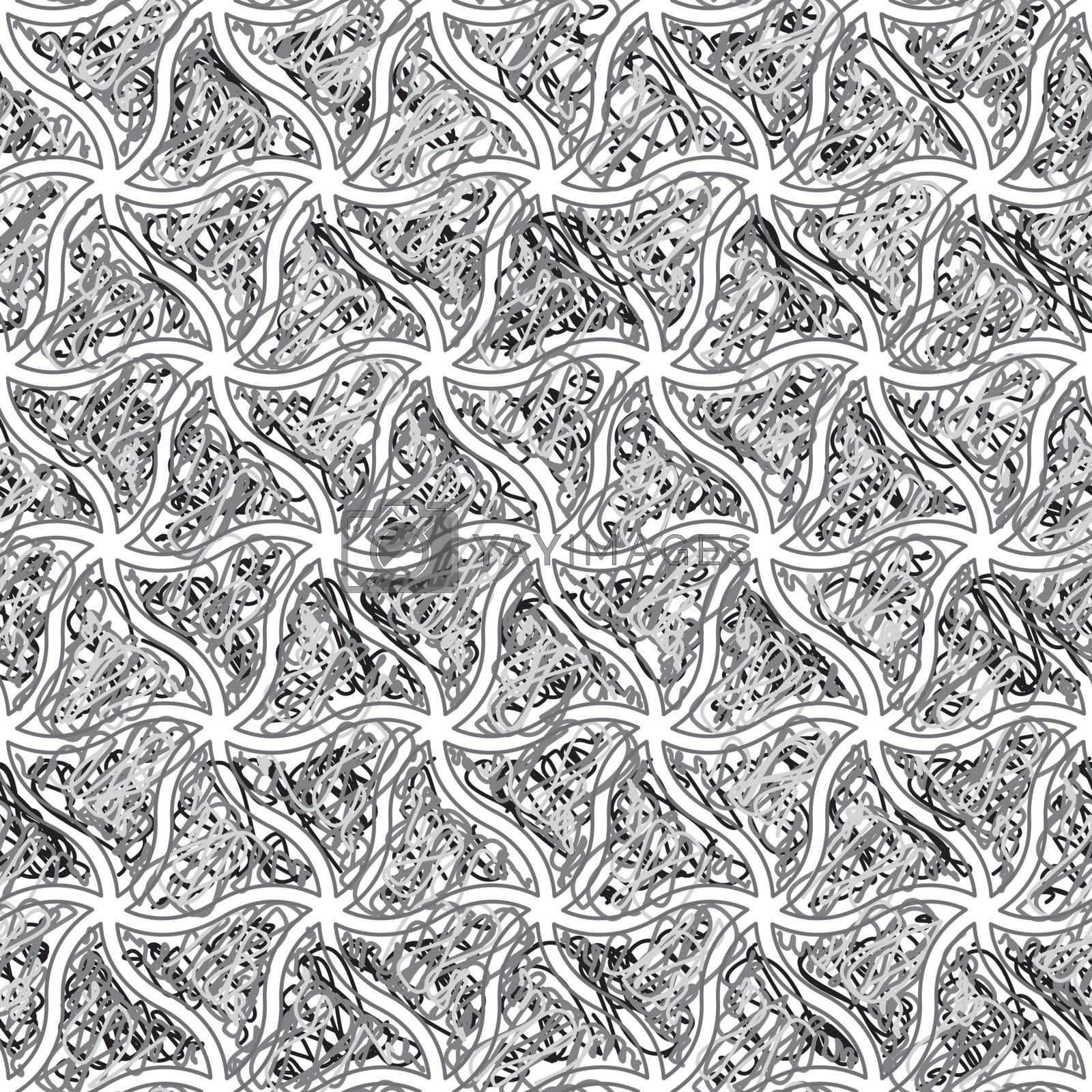 Vector geometric seamless patterns set, black and white texture.