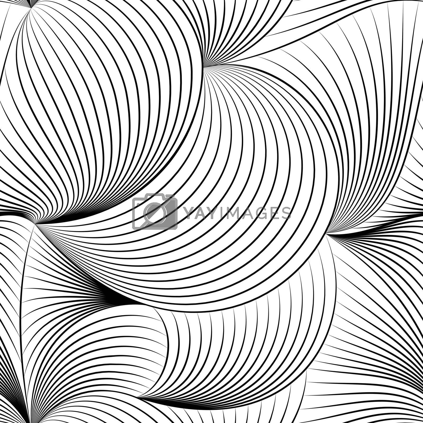 Vector geometric seamless patterns, black and white texture.