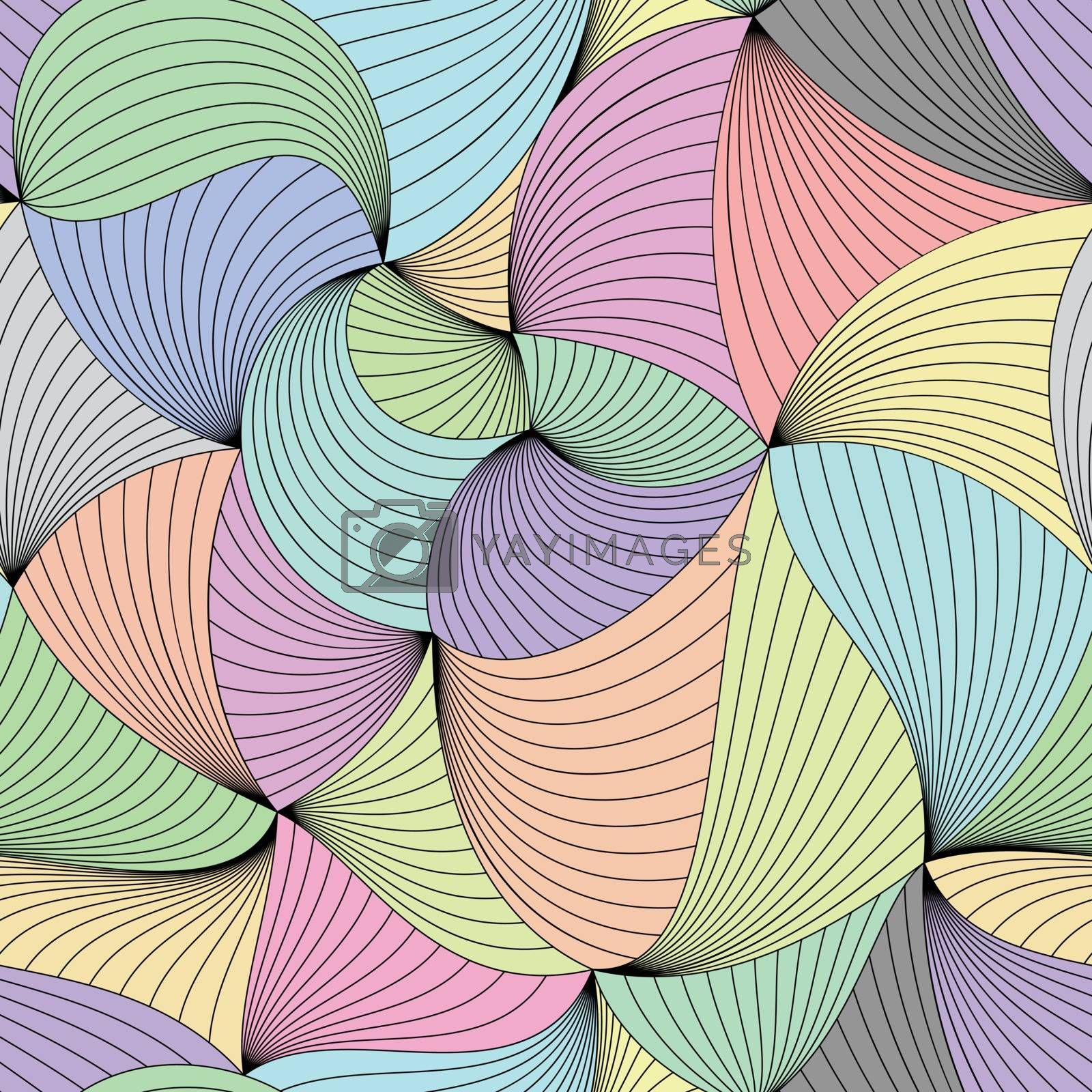 Stylish colorful vector curled seamless pattern.