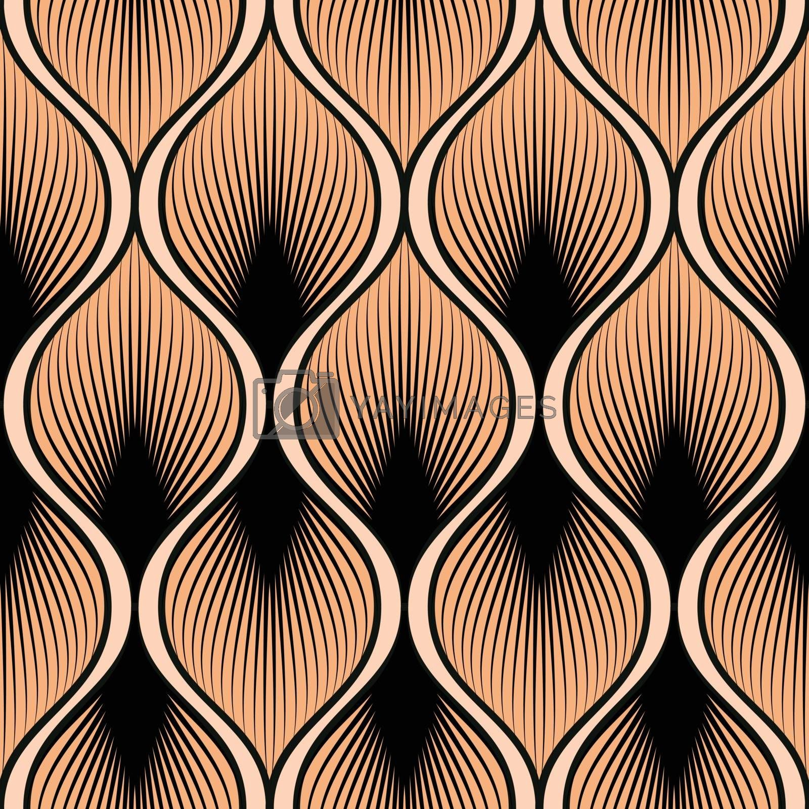 Seamless pattern with abstract feather shape on vector graphic art.