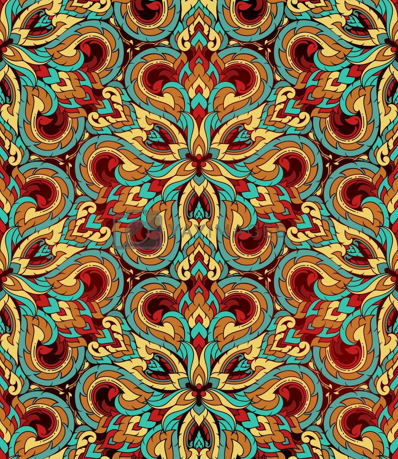 Thai traditional ethnic art abstract, seamless pattern.