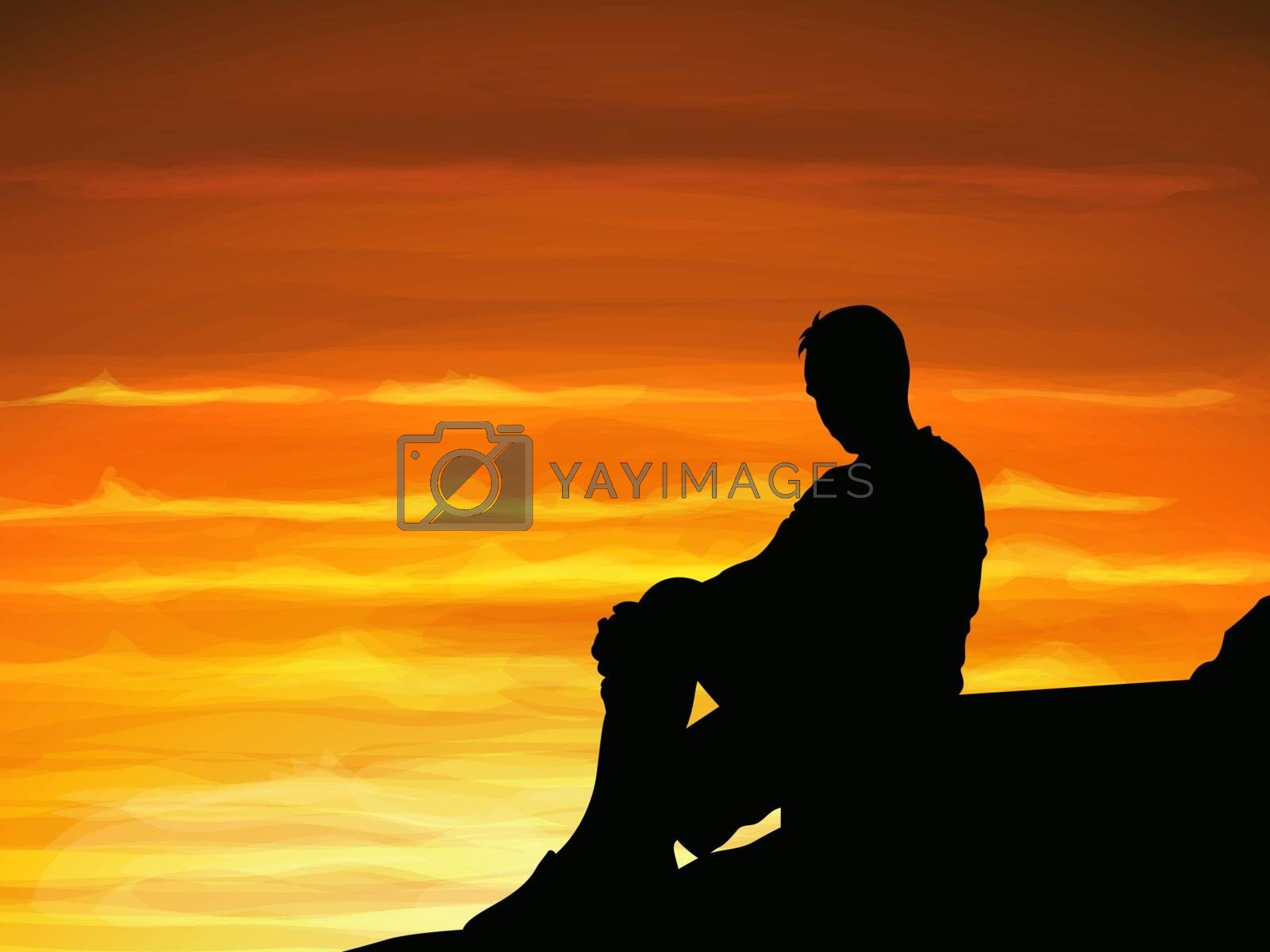 Silhouette lonely man sitting alone when twilight.