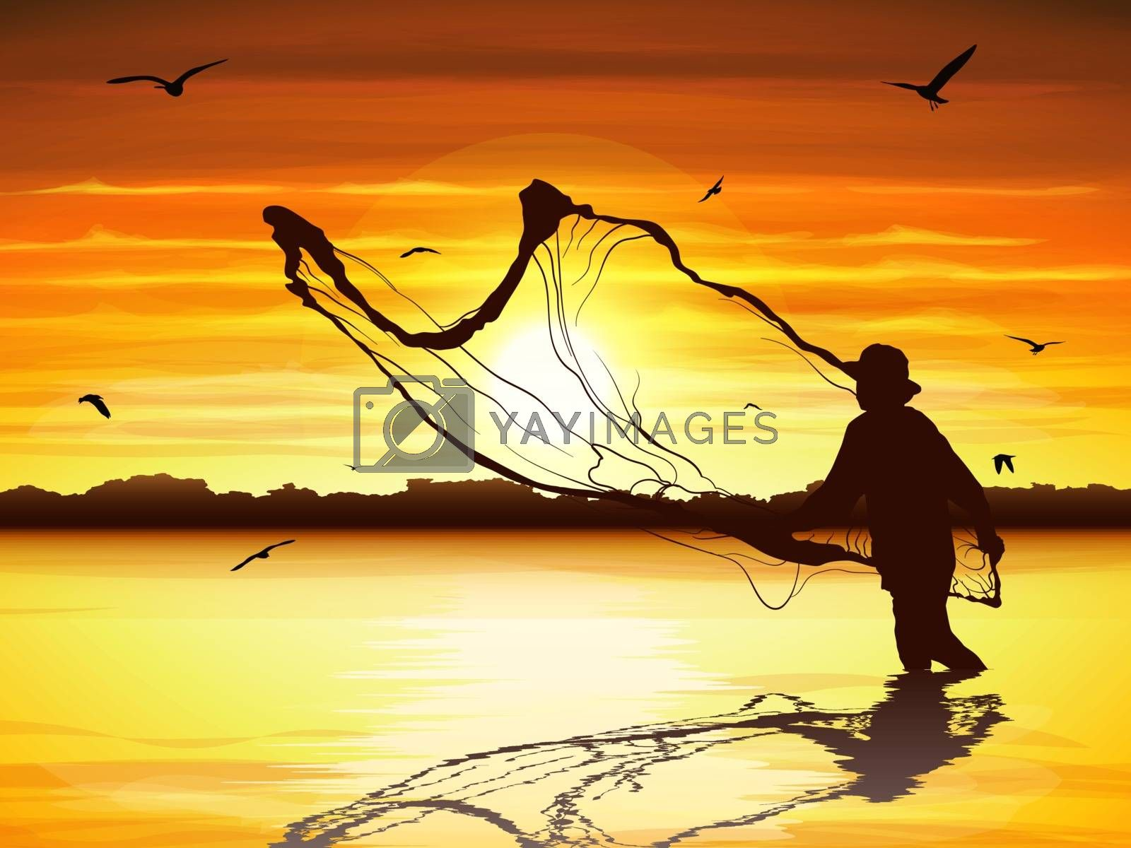 Silhouette of man catching the fish in twilight.