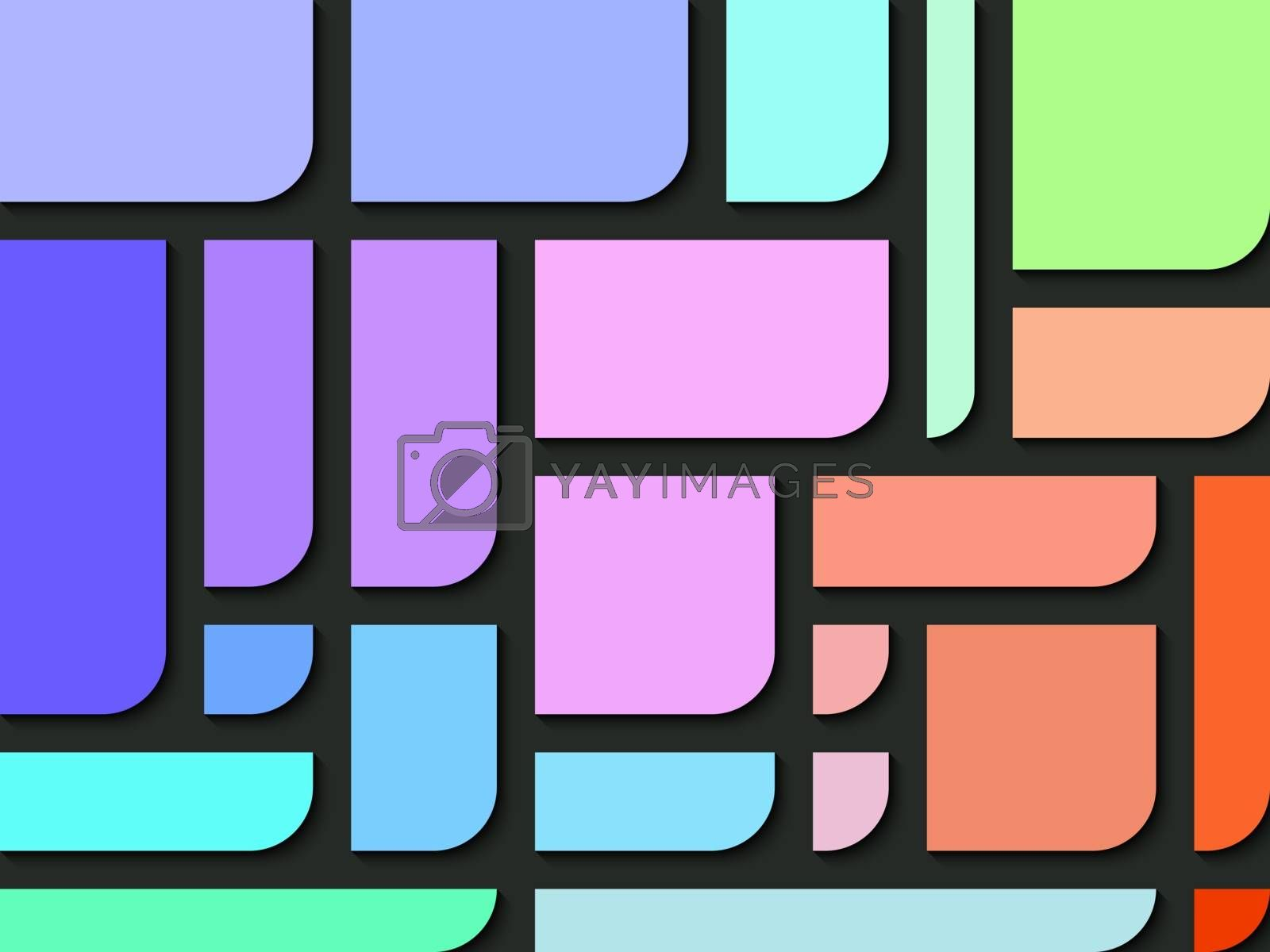 Rectangle colors with one side of round the corner abstract background.