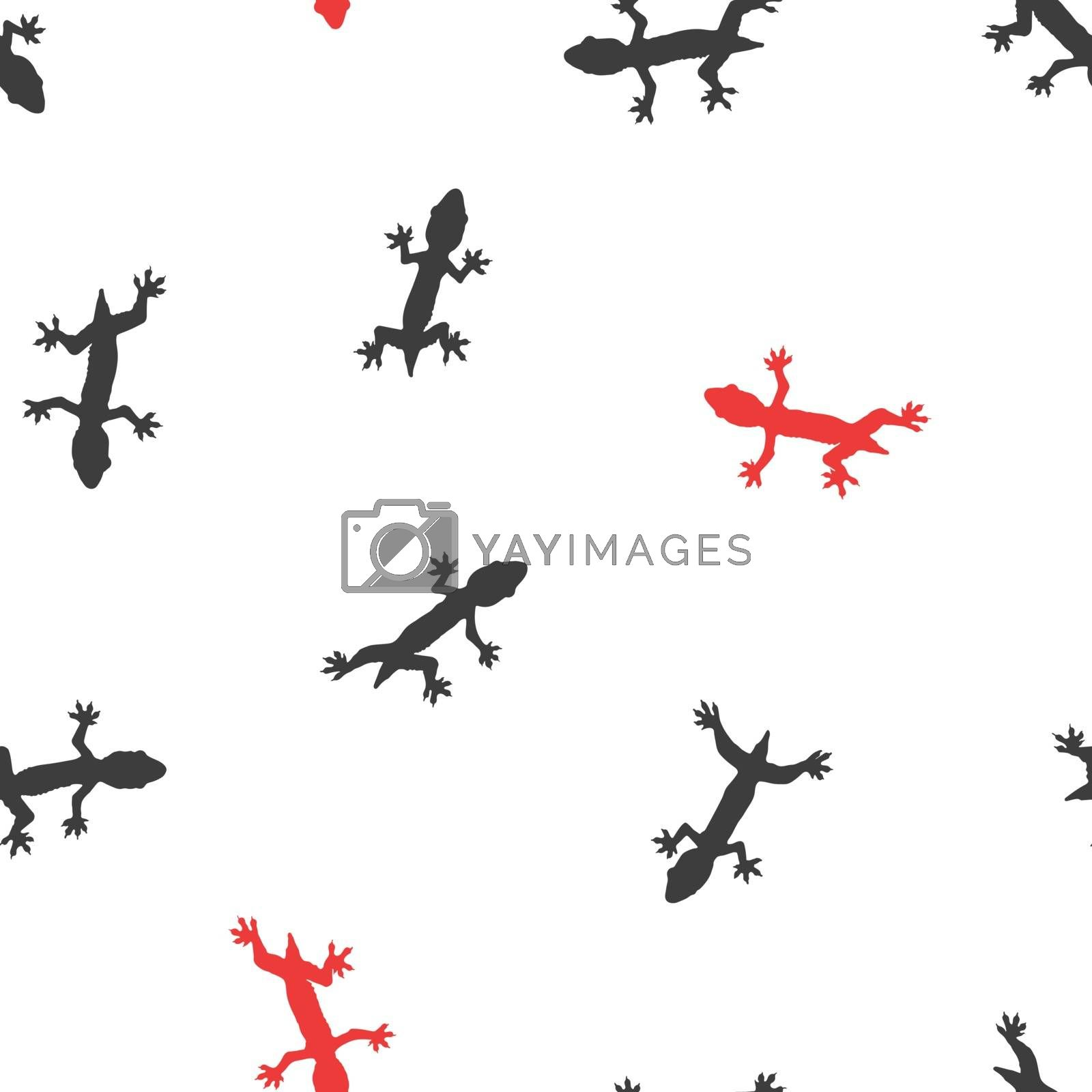 Silhouette lizard seamless background.