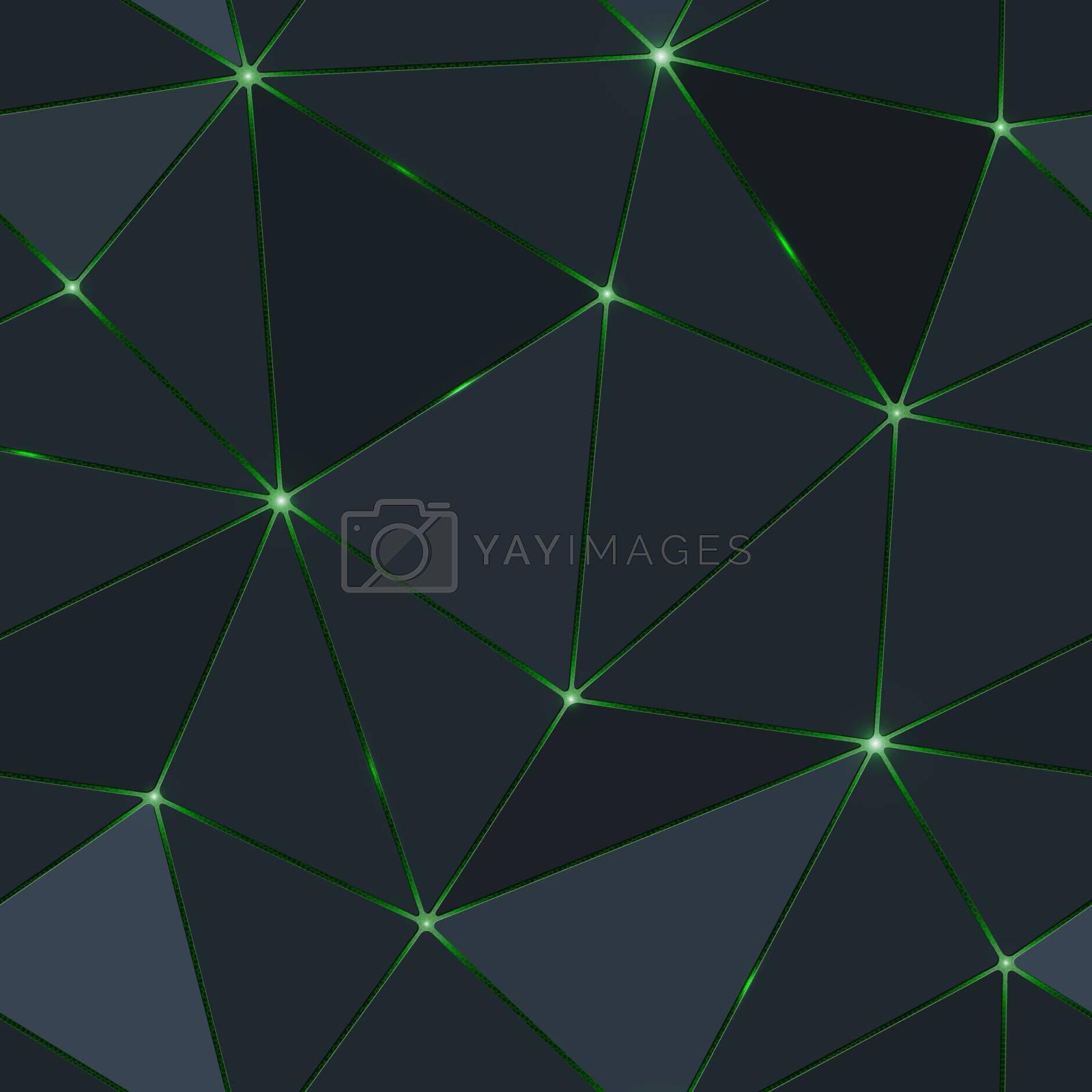 Seamless dark polygon with green light.