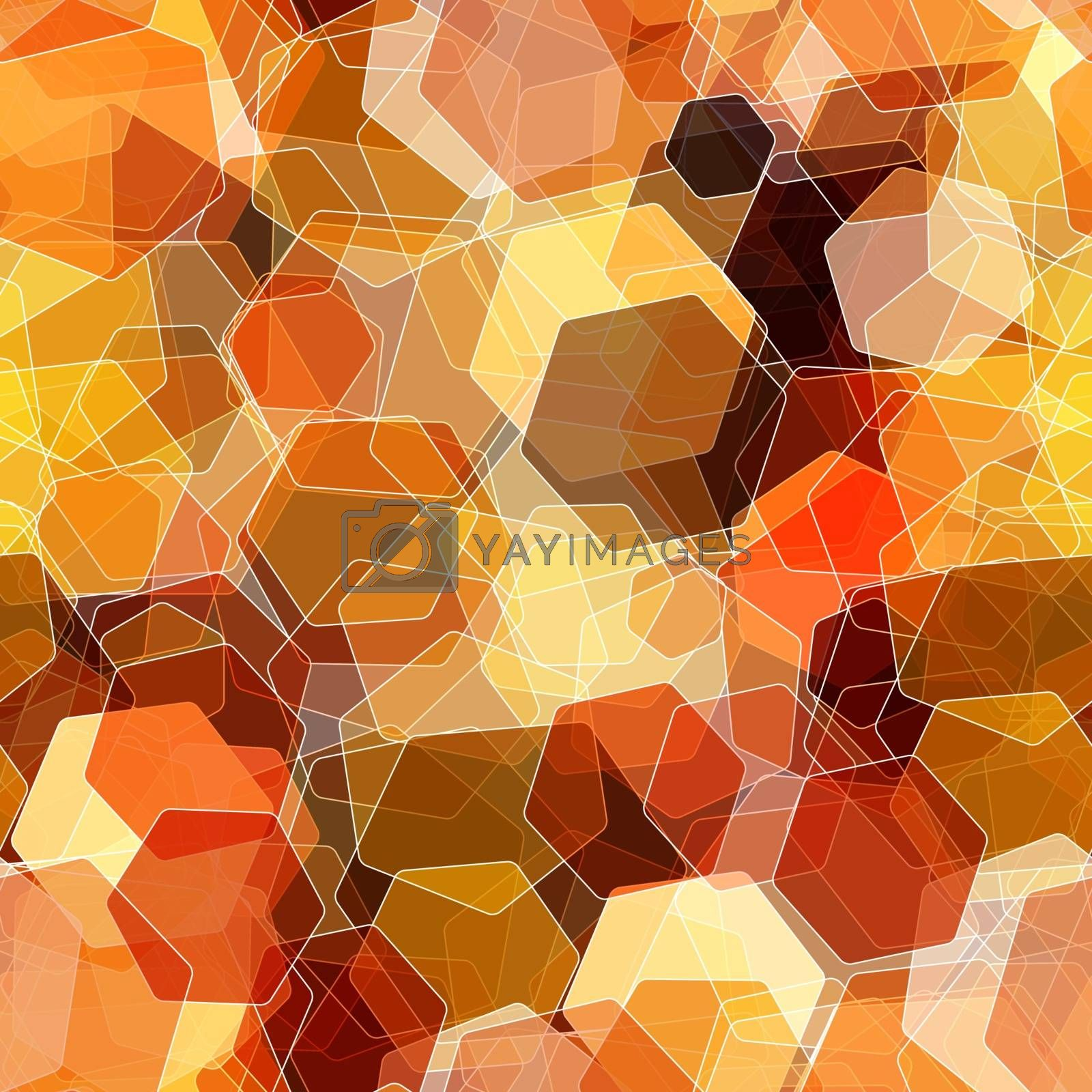 Seamless overlapping colorful hexagon, abstract background.