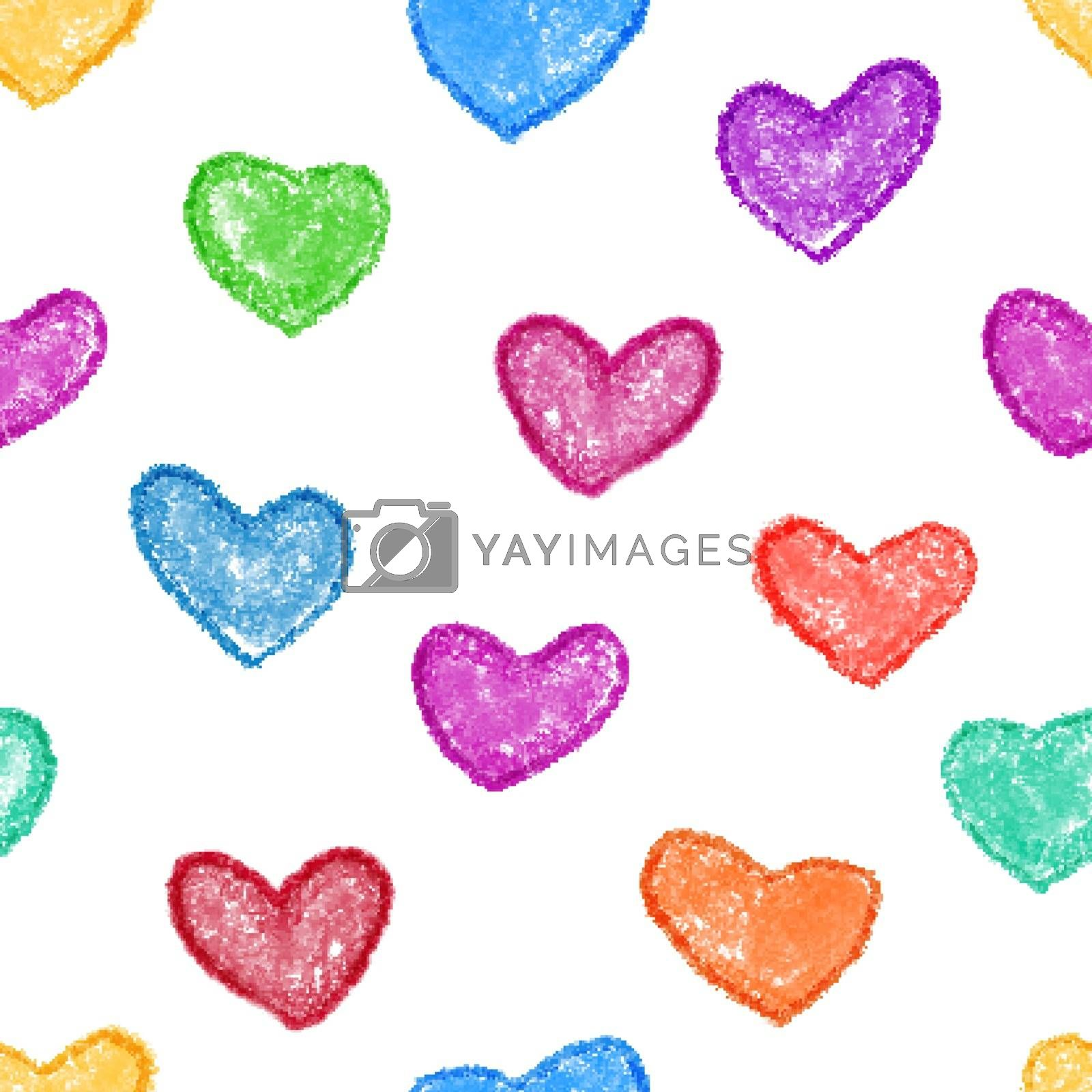 Colorful heart seamless background.
