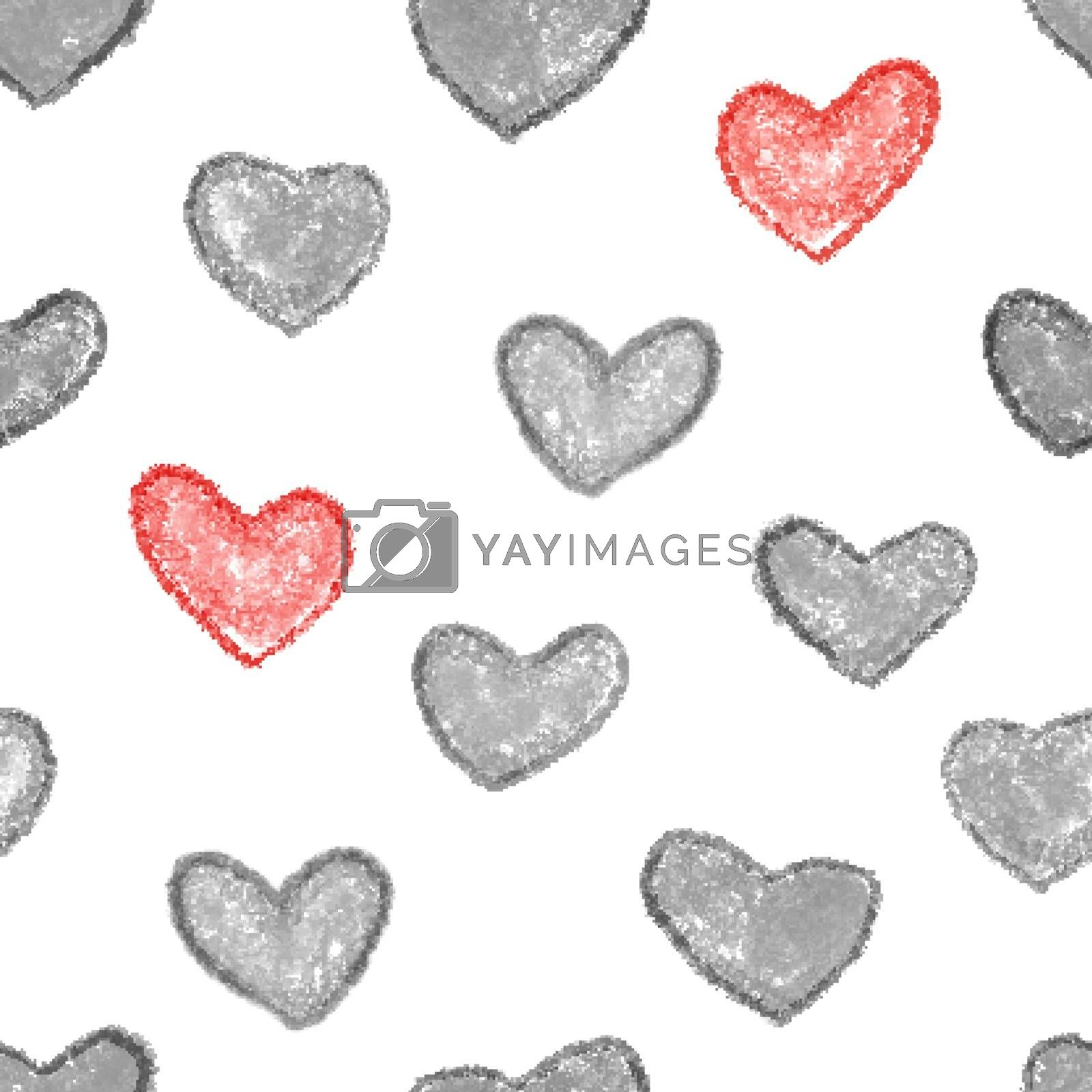 Monochrome and red heart seamless background.