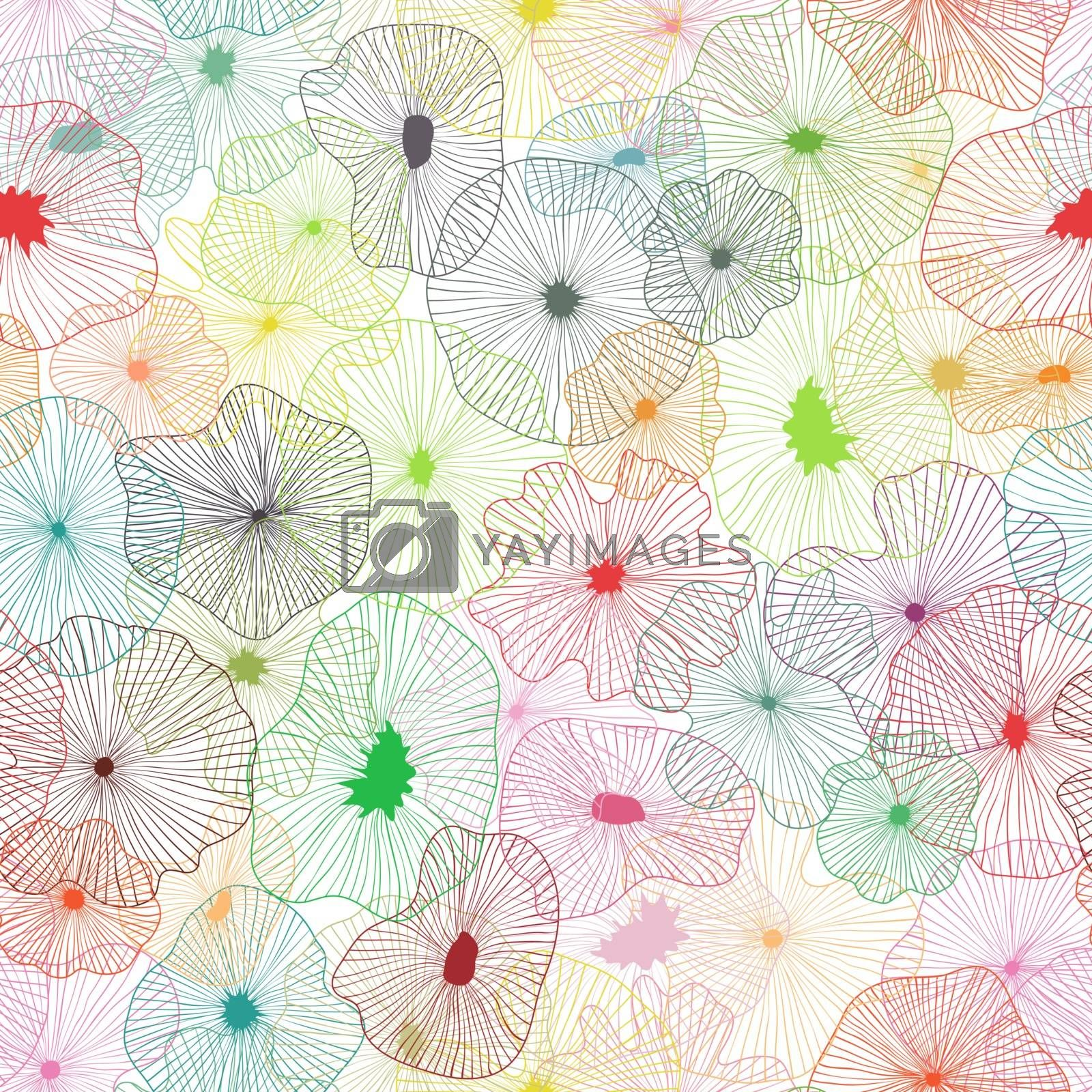Floral elements seamless background on vector art.