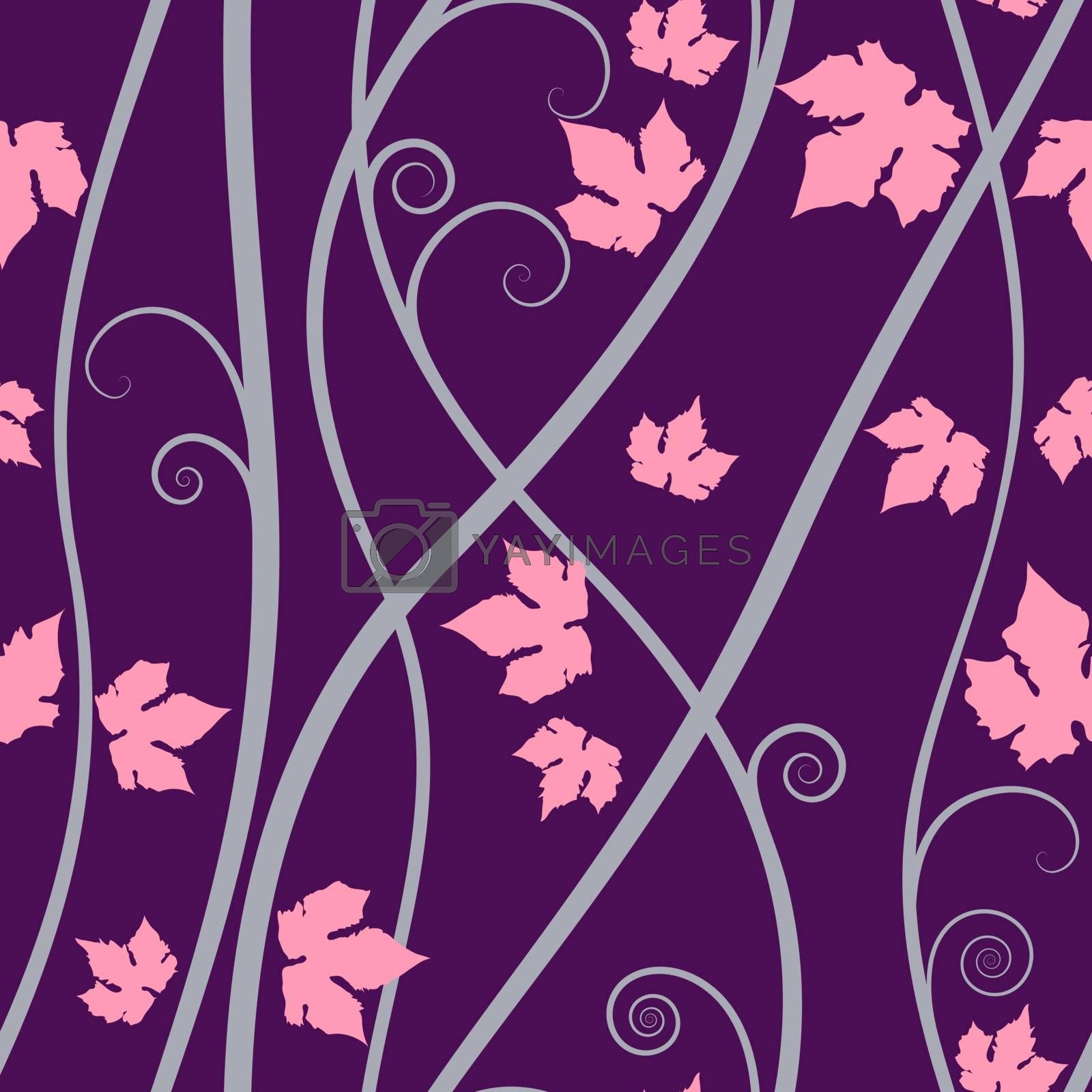 Purple floral elements seamless background on vector art.