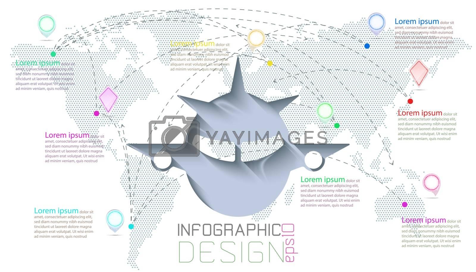 Infographic on world maps communication.