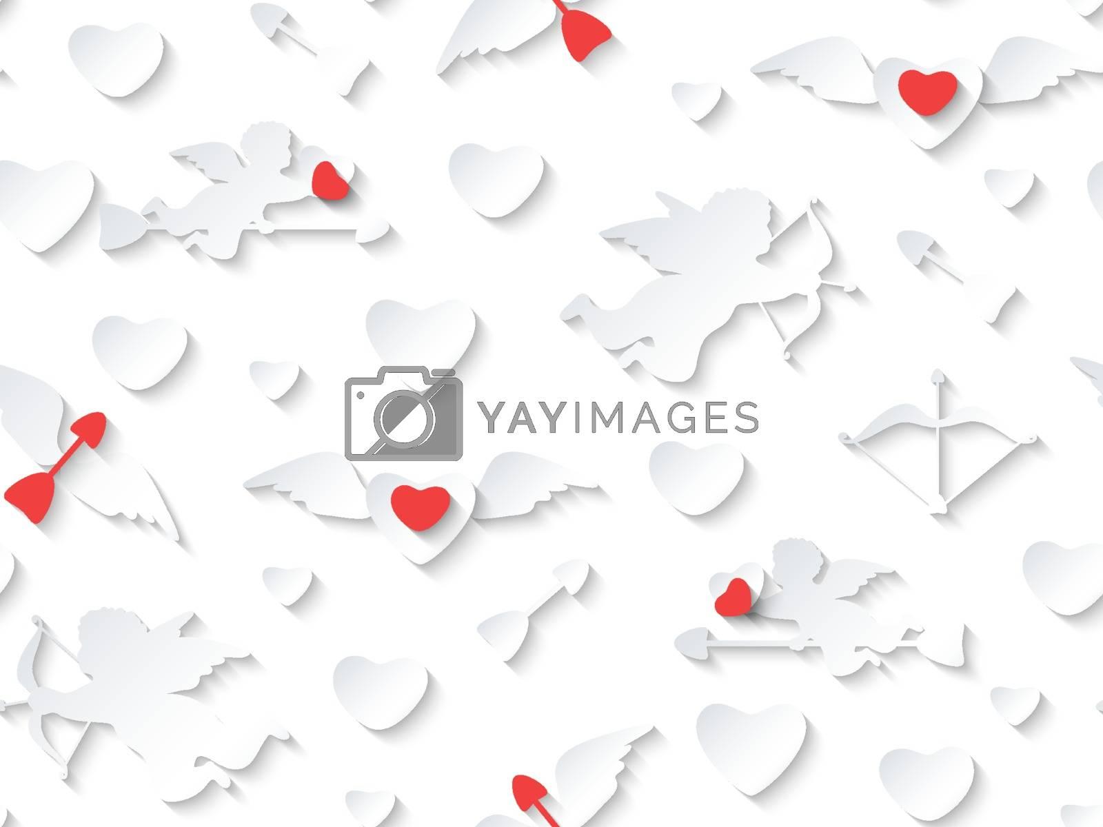 Valentine's day card design on seamless background.